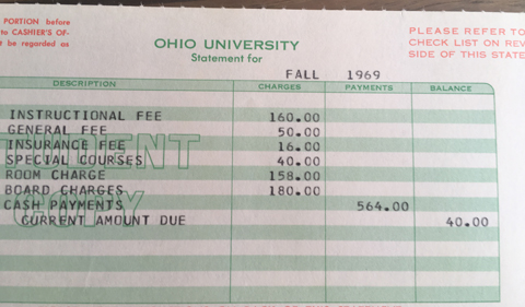 Tuition statement from Fall 1969, showing fees and tuition totaling %564.