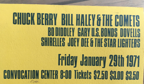 Ticket to Chuck Berry, Bill Haley & the Comets at the Convocation Center in 1971.
