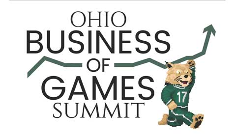 Ohio University Business of Games Summit, with running Bobcat graphic