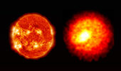 Despite staggering differences in mass and scale -- the sun (left) is approximately 10^38 times more massive and 10^13 times larger -- NIF implosions (right) are being used to recreate the conditions found in the deep interiors of stars so that they may be better understood.