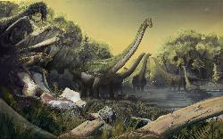 Ohio University paleontologists have identified a new species of titanosaurian dinosaur. Illustration by: Mark Witton