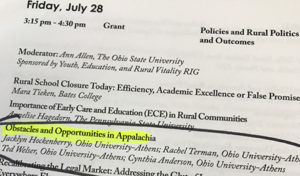 "page from annual meeting program for July 28 with presentation title highlighted ""Obstacles and Opportunities in Appalachia"""