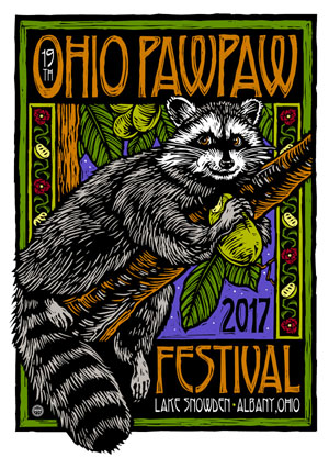 2017 Ohio Pawpaw Festival logo, showing raccoon on branch eating a green pawpaw