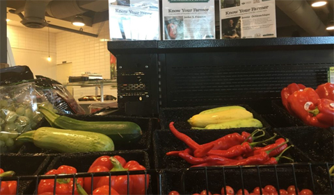 Food Studies veggies for sale at Jefferson Market