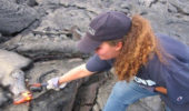 Dr. Patricia Nadeau with a fresh pahoehoe flow at Kilauea Volcano, Hawaii