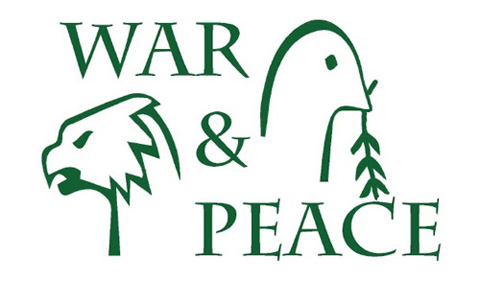war and peace theme logo, with dove and hawk