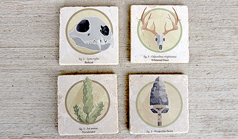 Four stone coasters with OHIO Archaeological Field School images