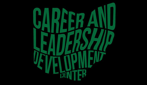 Career and leadership development center logo green letters on black background