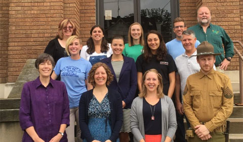 Participants in the August 2017 Certified Interpretive Guide training, including Dr. Katherine Jellison (first from the left in the first row), History alumnus Cyrus Moore (first from the right in the first row), and Dr. Sarah Kinkel (second from the left in the second row).
