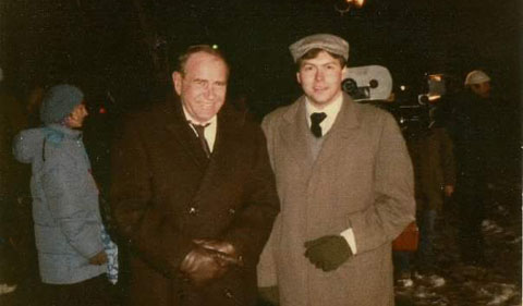 Michael Kukral poses with Darren McGavin during filming of The Christmas Story.