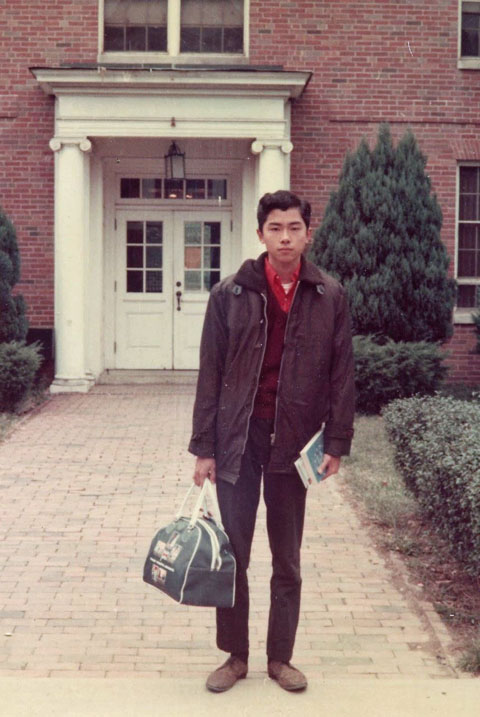 Ed Chow when he was a student at OHIO. Standing in front of Perkins.