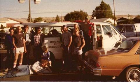 Field Camp 1981, several people posing in front of Ohio University geology van