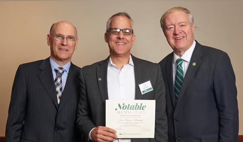 From left, Dean Robert Frank, John Maximuk, and President M. Duane Nellis at the 2017 Notable Alumni awards dinner.
