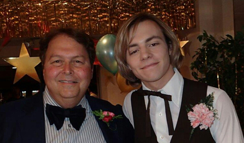 Michael Kukral in prom scene in My Friend Dahmer, posing here with actor Ross Lynch, who played Jeffery Dahmer.