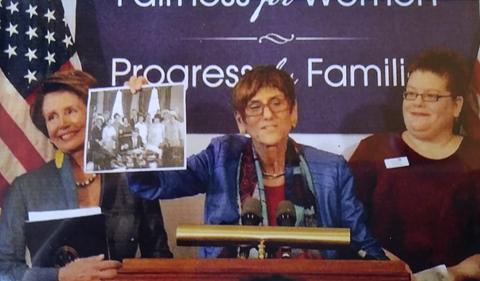 Lisa Maatz with Rep. Nancy Pelosi and Rep. Rosa DeLauro