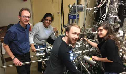 Dr. Arthur Smith with graduate students Sneha Upadhyay, Joseph Perry Corbett, and undergraduate Alexandra Semposki