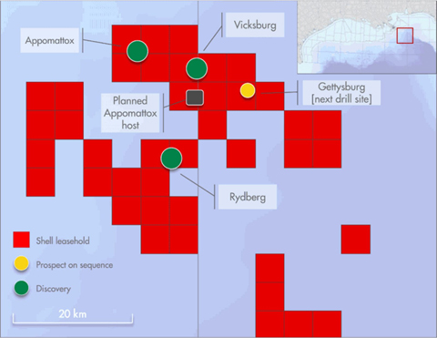 Shell and the Norphlet play. Credit: Shell. Graphic shows locations of Appomattox, Vicksburg, Gettysburg, Rydberg, and planned Appamattox host well sites.