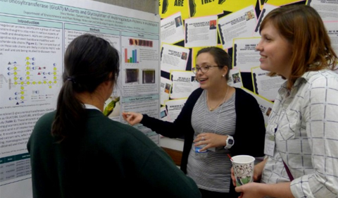 Stacy Welker, first Cohn Fellow, discusses her research at the Cohn Symposium, Sept. 22. She is standing with her poster talking to two people.