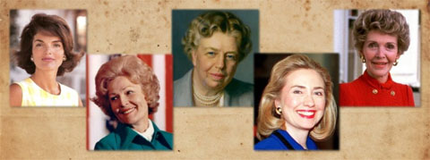 Unelected Leaders: America's First Ladies, with photos of five former first ladies, including Nancy Reagan and Hilary Clinton
