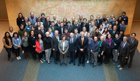 Group photo of the Celebration of the 25th Anniversary of the partnership with Leipzig University speakers and attendees. Participants celebrate 25th anniversary of the OHIO-Leipzig strategic partnership.