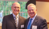 Dean Bob Frank and David Wolfort, former chair of the OHIO Board of Trustees, at the Notable Alumni Awards dinner.