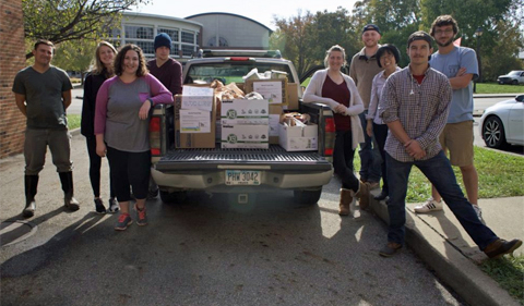 Students take food drive donation to Good Works.
