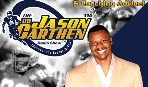 A smiling Dr. Jason Carthen with Jason Carthen Radio Show logo in background