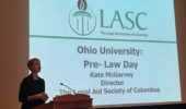 Kate McGarvey delivers Pre-Law Day keynote.