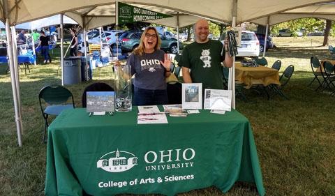 Lisa Cohen and Bryan Baur at Homecoming tent.