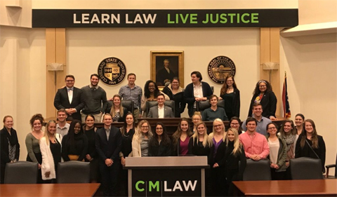 Phi Alpha Delta Members visit Cleveland-Marshall College of Law, shown here in group photo.