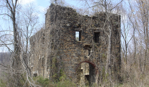 "The surviving engine house of ""The President"" in Friedensville, Pennsylvania"