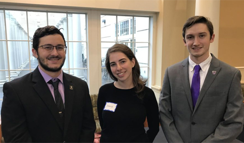 Student leader Nick Concilla, president of the ACLU of OHIO, Jessica Roth, president of Students for Law, Justice & Culture, and Keeghan White, president of Phi Alpha Delta Pre-Law Fraternity, participate in Pre-Law Days 2017. Photo shows three students posing for photo.
