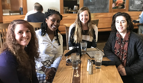 Casey Tisdale, Bryttani Barker, Alexis Lowe, and Nicole Kaufman at lunch after Barker's presentation about Human Trafficking in Ohio