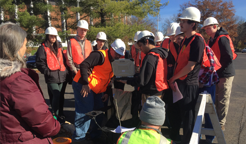 Mitchell Brourman '94 showed students traducer data of the groundwater level measurements