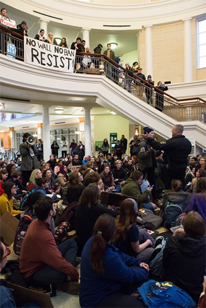 The Feb. 1, 2017, demonstration that resulted in the arrests of 70 students and community members in Baker Center. Photo showing students in rotunda and on stairs and balcony.