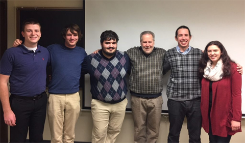 Group photo, From left, Benjamin Beaty, Alex Armstrong, Dominic Detwiler, Keith Wasserman, Michael McTernan, and Madison Stanley