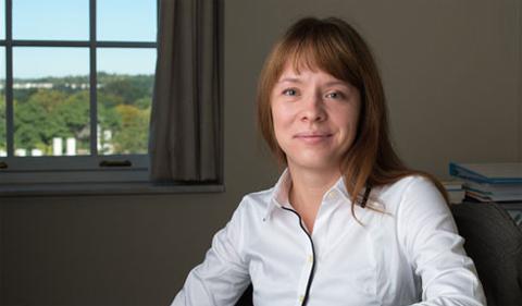 Dr. Olga Standrityuk, portrait in her office