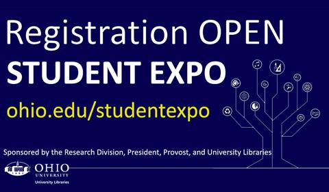 Slide saying Registraion Open for Student Expo. ohio.edu/studentexpo