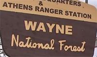 Wayne National Forest sign, indicating Athens ranger station