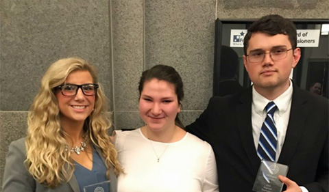 From left, Ashley Mager, Lillian Mattimoe Austen Burns, all recognized at regional mock trial competition.