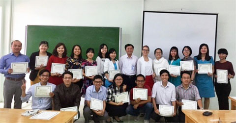 Bikowski (back, center) with the Nha Trang University faculty in Vietnam who participated in the 2-week training on teaching content in English.