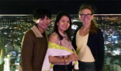 Bikowski with NTU faculty Lien Phan T Kim, and OHIO aluma Dr. Ngan Nguyen, at a local lounge that Lien helps manage