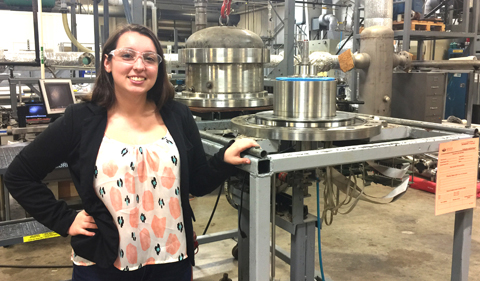Ohio University Physics major Taylor Gardner at OHIO's Institute for Corrosion and Multiphase Technology