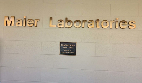 The Maier teaching laboratories in Irvine Hall are utilized by hundreds of undergraduate students each academic year. photo of name on wall.