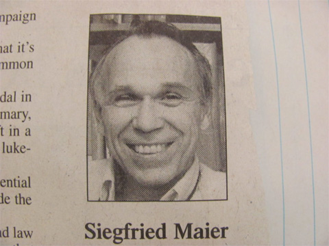 Newspaper photo of Siegfried Maier