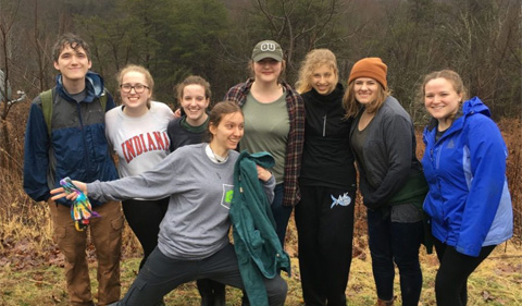 Plant Club members still in good spirits after a rigorous and wet day off trail. From left: Eugene Hancock, Melody Weary, Maya Ware, Alberta Dempsey, Gracie Jahn, Jessica Langguth, Elisabeth Bacon and Bailey Smith.