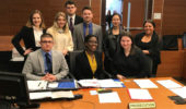 Members of the Mock Trial Team during competition in Columbus during 2017-2018 school year.