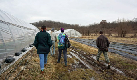 Students tour Green Edge Gardens, walk along high tunnel garden
