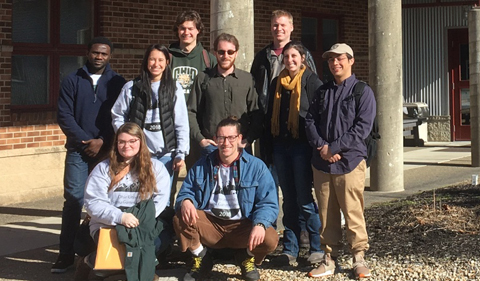 Geology students visit the Ohio Division of Geological Survey (left to right: AYO-BALI Abiodun Emmanuel, Emily Simpson, Anna Michael, Austin Johnson, Jack Seeley, Justin Brunot, Brandon Bailey, Kelli Baxstrom, Zachary Fernandes)