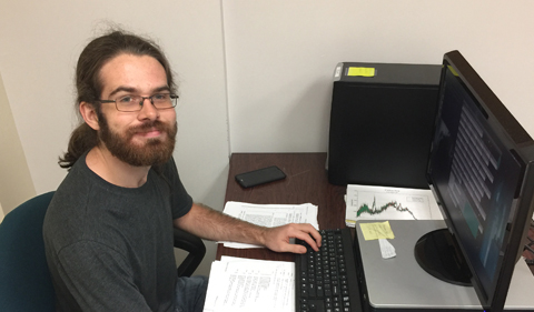 Matt Brooks at his work station in Ohio University's Edwards Accelerator Lab